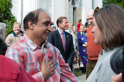 10/16/18  Wesley Bunnell | Staff  Malik Naveed Vin Rehman hugs Allison HIne outside of First Congregational Church of Old Lyme on Tuesday afternoon after a press conference to announce he will return home to New Britain along with Zahida Altaf while awaiting their deportation case which is pending before the 2nd Circuit Court of Appeals.  The couple had taken sanctuary at the church in March after being ordered by Customs Enforcement (ICE) to leave the United States by March 19th.