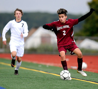 10/17/2018 Mike Orazzi | Staff Bristol Central's Sebby Garay-Ortega (2) during boys soccer at BC Wednesday afternoon.