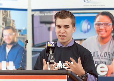 10/17/18  Wesley Bunnell | Staff  The Precision Metalforming Association's New England Division donated $30,000 towards scholarships for Tunxis, Naugatuck Valley & Middlesex Community College's manufacturing programs. Tunxis student James Sanders speaks during the press conference.