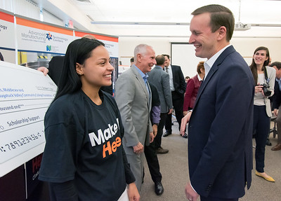 10/17/18  Wesley Bunnell | Staff  The Precision Metalforming Association's New England Division donated $30,000 towards scholarships for Tunxis, Naugatuck Valley & Middlesex Community College's manufacturing programs.  NVCC student Stephanie Maldonado speaks with Senator Chris Murphy at the end of the conference.