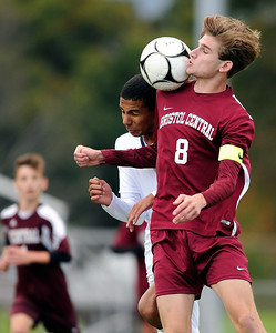 10/17/2018 Mike Orazzi | Staff Bristol Central's Davis Bowes (8) Newington's Youseff Khadrani (17) during boys soccer at BC Wednesday afternoon.