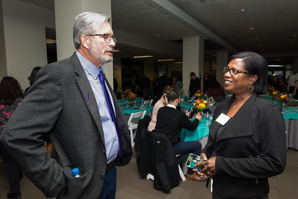 10/18/18 Wesley Bunnell | Staff CMHA held their 2018 Annual Meeting at their new location at on Main St in New Britain on Thursday evening featuring a special award to Governor Dannel Malloy for his help in procuring their new building. Representative William Petit speaks with DMHAS Commissioner Miriam Delphin-Rittmon.