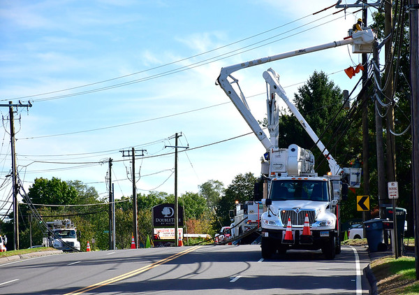 10/19/2018 Mike Orazzi | Staff Man charged with DUI for striking pole on Middle Street in Bristol, closing the road for much of Friday.