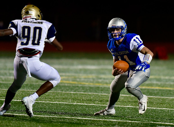 10/19/2018 Mike Orazzi | Staff Bristol Eastern High School's Justin Marshall (11) during Friday night's football game with Platt at BEHS in Bristol.