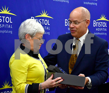 10/2/2018 Mike Orazzi | Staff Bristol Hospital President and CEO Kurt Barwis presents the Hospital Champion Award to Lt. Gov. Nancy Wyman Tuesday morning.