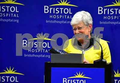 10/2/2018 Mike Orazzi | Staff Bristol Hospital Champion Award recipient Lt. Gov. Nancy Wyman Tuesday morning.