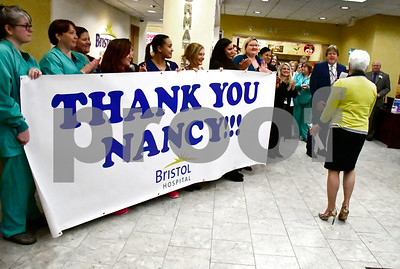 10/2/2018 Mike Orazzi | Staff A number of Bristol Hospital employees while greeting Lt. Gov. Wyman during her visit to the hospital Tuesday morning.