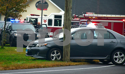10/2/2018 Mike Orazzi | Staff The scene of a one vehicle crash at the intersection of the Barnes Highway an Pine Street in Bristol Tuesday afternoon. No injuries were reported and the car was towed from the scene.