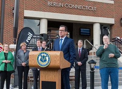 10/23/18  Wesley Bunnell | Staff  State and local officials held a ribbon cutting Tuesday afternoon officially opening the recently completed Berlin Train Station which runs on the Hartford Line. Governor Dannel Malloy speaks as State Senator Terry Gerratana, Rep. Cathy Abercrombie, Senator Richard Blumenthal, and Mayor Mark Kaczynski look on.