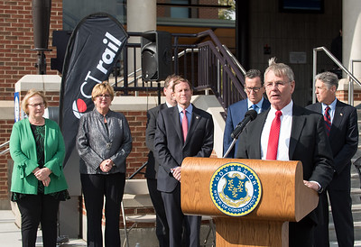 10/23/18  Wesley Bunnell | Staff  State and local officials held a ribbon cutting Tuesday afternoon officially opening the recently completed Berlin Train Station which runs on the Hartford Line. DOT Commissioner James Redeker speaks as State Senator Terry Gerratana, Rep. Cathy Abercrombie, Senator Richard Blumenthal, Governor Dannel Malloy and Mayor Mark Kaczynski look on.