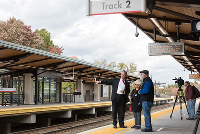 10/23/18  Wesley Bunnell | Staff  State and local officials held a ribbon cutting Tuesday afternoon officially opening the recently completed Berlin Train Station which runs on the Hartford Line. DOT Commissioner James Redeker, L, speaks with Berlin residents Gloria and Jerry Wisneski after the ribbon cutting.
