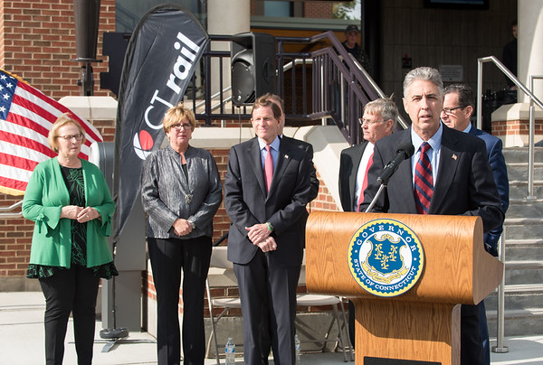 10/23/18 Wesley Bunnell | Staff State and local officials held a ribbon cutting Tuesday afternoon officially opening the recently completed Berlin Train Station which runs on the Hartford Line. Mayor Mark Kaczynski speaks as State Senator Terry Gerratana, Rep. Cathy Abercrombie, Senator Richard Blumenthal, DOT Commissioner James Redeker and Governor Dannel Malloy look on.