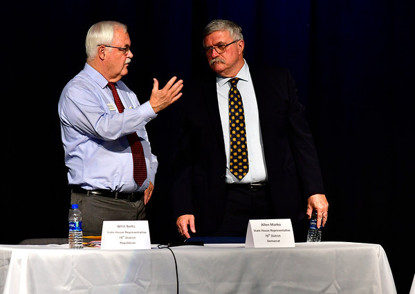 10/23/2018 Mike Orazzi | Staff Whit Betts and Allen Marko during The Bristol Chamber of Commerce's Senate and House forum at St. Paul Catholic High School Tuesday night.