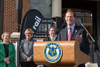 10/23/18  Wesley Bunnell | Staff  State and local officials held a ribbon cutting Tuesday afternoon officially opening the recently completed Berlin Train Station which runs on the Hartford Line. Senator Richard Blumenthal speaks as State Senator Terry Gerratana & Rep. Cathy Abercrombie look on.