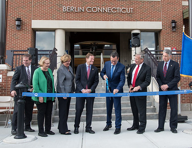 10/23/18  Wesley Bunnell | Staff  State and local officials held a ribbon cutting Tuesday afternoon officially opening the recently completed Berlin Train Station which runs on the Hartford Line. State Senator Terry Gerratana, 2nd L, Rep. Cathy Abercrombie, Senator Richard Blumenthal, Governor Dannel Malloy, DOT Commissioner James Redeker and Mayor Mark Kaczynski.