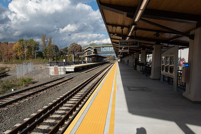 10/23/18  Wesley Bunnell | Staff  State and local officials held a ribbon cutting Tuesday afternoon officially opening the recently completed Berlin Train Station which runs on the Hartford Line. Looking north on track 2.