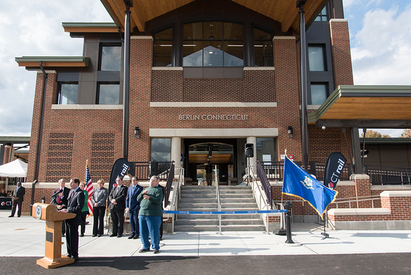10/23/18 Wesley Bunnell | Staff State and local officials held a ribbon cutting Tuesday afternoon officially opening the recently completed Berlin Train Station which runs on the Hartford Line. The main entrance which faces the north bound track is shown as Senator Richard Blumenthal speaks.
