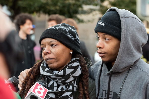 10/24/18 Wesley Bunnell | Staff A rally was held at Central Park on Wednesday evening calling for the release of police video from the December 14 2017 New Britain Police shooting which resulted in the death of Zoe Dowdell of Bloomfield. Step mother Deanna Dowdell sobs as the speaks with reporters as step brother Hakeem Robinson looks on.