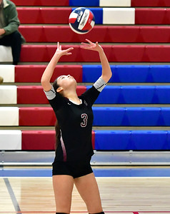 10/24/2018 Mike Orazzi | Staff Innovation's Molly Corcoran (3) during volleyball with St. Paul in Bristol.