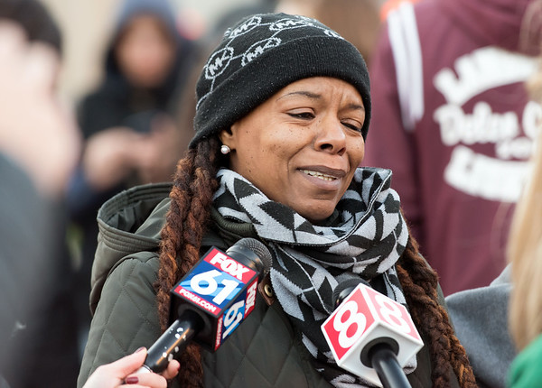 10/24/18 Wesley Bunnell | Staff A rally was held at Central Park on Wednesday evening calling for the release of police video from the December 14 2017 New Britain Police shooting which resulted in the death of Zoe Dowdell of Bloomfield. Step mother Deanna Dowdell sobs as the speaks with reporters.