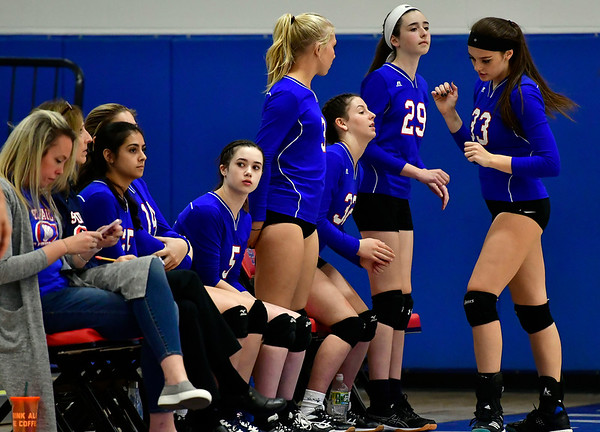 10/24/2018 Mike Orazzi | Staff St. Paul girls during volleyball Wednesday with Innovation in Bristol.