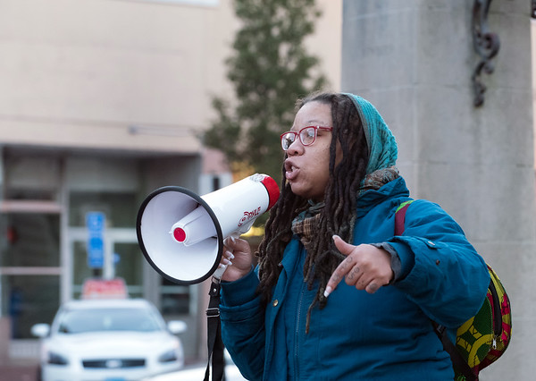 10/24/18 Wesley Bunnell | Staff A rally was held at Central Park on Wednesday evening calling for the release of police video from the December 14 2017 New Britain Police shooting which resulted in the death of Zoe Dowdell of Bloomfield. BLM activist Ala Ochumare speaks to the crowd.