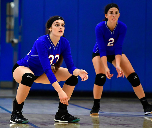 10/24/2018 Mike Orazzi | Staff St. Paul's Kelsi Blatchley (33) and Greta Panke (2) during volleyball Wednesday with Innovation in Bristol.