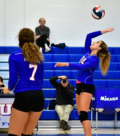 10/24/2018 Mike Orazzi | Staff St. Paul's Morgan Kolb (34) during volleyball Wednesday with Innovation in Bristol.