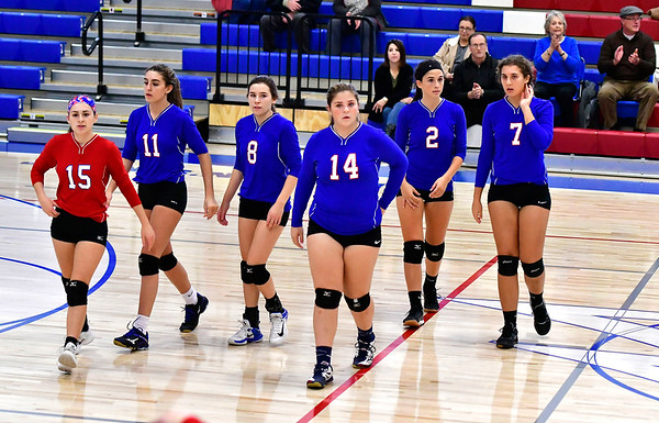 10/24/2018 Mike Orazzi | Staff St. Paul's Grace Carabetta (15), Olivia Genovese (11), Alexis Carabetta (8), Megan Fortier (14), Greta Panke (2) and Rebecca Nerbonne (7) during volleyball Wednesday with Innovation in Bristol.