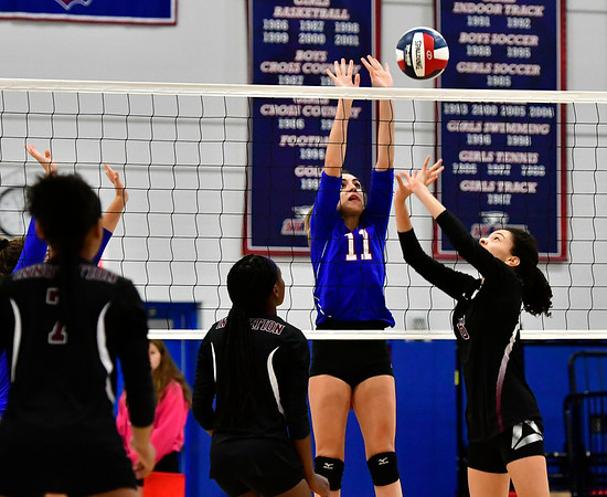 10/24/2018 Mike Orazzi | Staff St. Paul's Olivia Genovese (11) during volleyball Wednesday with Innovation in Bristol.