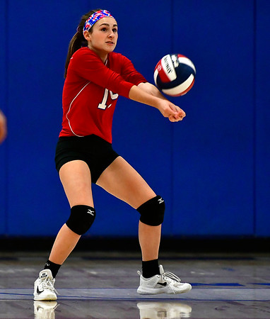 10/24/2018 Mike Orazzi | Staff St. Paul's Grace Carabetta (15) during volleyball Wednesday with Innovation in Bristol.