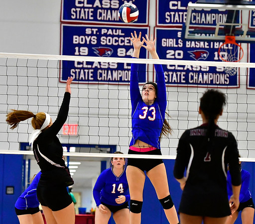 10/24/2018 Mike Orazzi | Staff St. Paul's Kelsi Blatchley (33) during volleyball Wednesday with Innovation in Bristol.