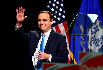 10/26/2018 Mike Orazzi | Staff  Chris Murphy speaks before former Vice President Joe Biden while campaigning for fellow democrats in Hartford on Friday.