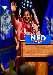 10/26/2018 Mike Orazzi | Staff  Connecticut's 5th congressional district candidate Jahana Hayes speaks before former Vice President Joe Biden's visit to campaign for fellow democrats in Hartford on Friday.