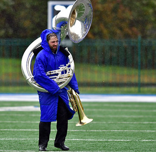10/27/2018 Mike Orazzi | Staff The CCSU band Saturday's football game in New Britain with Wagner.