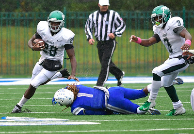10/27/2018 Mike Orazzi | Staff CCSU's DJ Exilhomme (1) and Wagner's  Denzel Knight (28) during Saturday's football game in New Britain with Wagner.