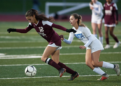 10/29/18  Wesley Bunnell | Staff  Bristol Central girls soccer hosting Bristol Eastern on Monday evening. Adalia Malick (12) and Sara Stadnicki (8).