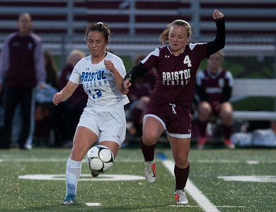 10/29/18  Wesley Bunnell | Staff  Bristol Central girls soccer hosting Bristol Eastern on Monday evening.  Leah Policarpio (12) and Abigail Gorneault (4).