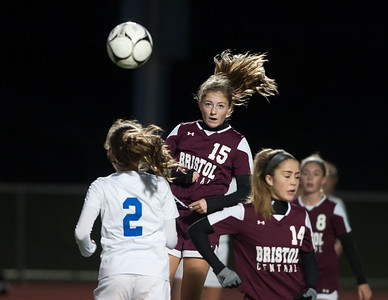 10/29/18  Wesley Bunnell | Staff  Bristol Central girls soccer hosting Bristol Eastern on Monday evening. Lily Hansen (15).