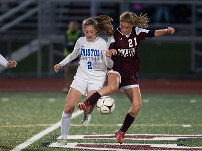 10/29/18  Wesley Bunnell | Staff  Bristol Central girls soccer hosting Bristol Eastern on Monday evening. Audra Porowski (2) and Christine Attle (21).