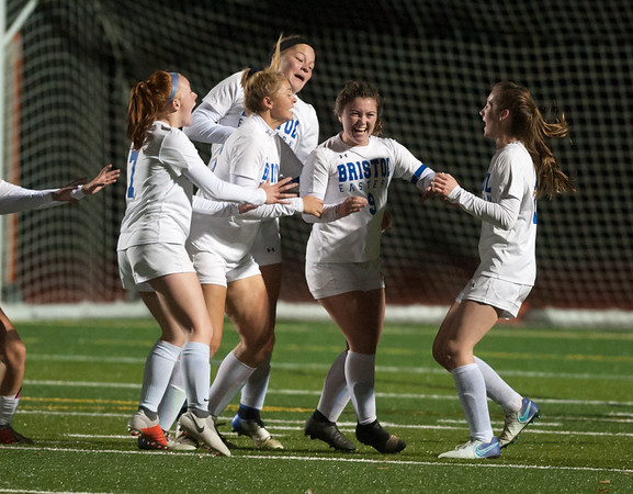 10/29/18 Wesley Bunnell | Staff Bristol Central girls soccer hosting Bristol Eastern on Monday evening. Bristol Eastern won 4-3 in OT on a goal by Myah Croze (9), middle, with :22 left in OT.