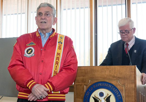10/29/18 Wesley Bunnell | Staff Congressman John Larson (CT-01) presented 14 Vietnam Veterans with Vietnam Veteran lapel pin's during a ceremony at Berlin Town Hall in commemoration of the 50th anniversary of the Vietnam War. Veterans Service Contact Person for the Town of Berlin Peter Galgano Jr, left, speaks to attendees as Congressman Larson (CT-01) look on.