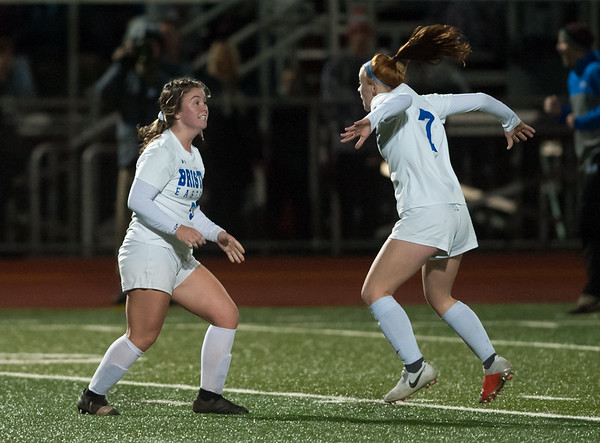10/29/18 Wesley Bunnell | Staff Bristol Central girls soccer hosting Bristol Eastern on Monday evening. Bristol Eastern won 4-3 in OT on a goal by Myah Croze (9) who is shown celebrating with Lili Morneault (7).