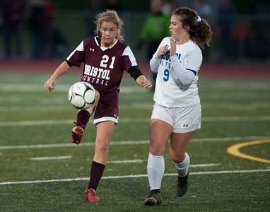 10/29/18  Wesley Bunnell | Staff  Bristol Central girls soccer hosting Bristol Eastern on Monday evening.  Christine Attle (21) and Myah Croze (9).