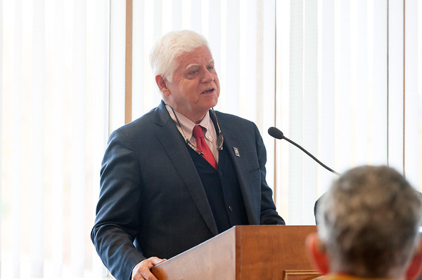 10/29/18 Wesley Bunnell | Staff Congressman John Larson (CT-01) presented 14 Vietnam Veterans with Vietnam Veteran lapel pin's during a ceremony at Berlin Town Hall in commemoration of the 50th anniversary of the Vietnam War. Congressman Larson (CT-01) addresses attendees to the ceremony.