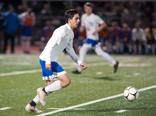 10/29/18 Wesley Bunnell | Staff Bristol Central boys soccer vs Bristol Eastern on Monday night in a game played at Bristol Central High School. Eastern's Dante Costantiello (8).