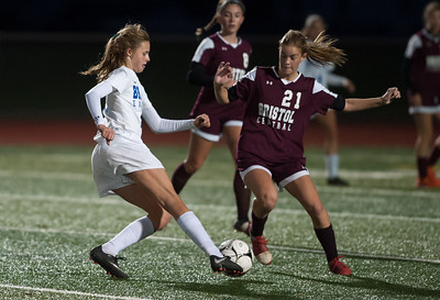 10/29/18  Wesley Bunnell | Staff  Bristol Central girls soccer hosting Bristol Eastern on Monday evening. Ciara Collins (11) & Christine Attle (21).