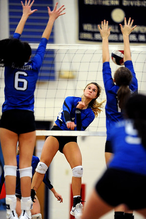 10/30/2018 Mike Orazzi | Staff Bristol Eastern's Zoe Lowe (7) during the CCC volleyball tournament at Eastern Tuesday.