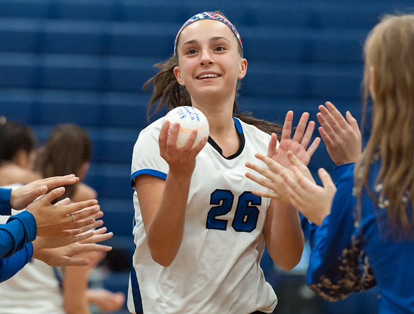 10/30/18 Wesley Bunnell | Staff Southington girls volleyball was defeated 15-10 in the 5th set by Farmington in a 2nd round CCC Tournament game on Tuesday night at Southington High School. Mackenzie Coppola (26) is introduced at the start of the game.