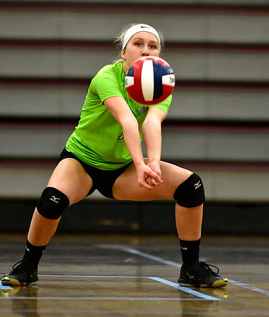10/30/2018 Mike Orazzi | Staff Bristol Central's Amanda Warner (1) during the CCC volleyball tournament with Conard at Central on Tuesday.